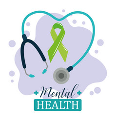 Mental health day green ribbon stethoscope vector