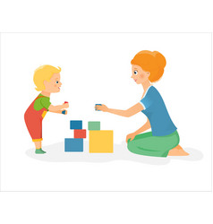 mother plays with kid vector image