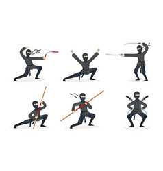 ninja shows different tricks with weapons set of vector image