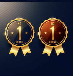 no 1 brand golden label and badge in two colors vector image
