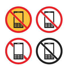 No cell phone icons no mobile phone sign vector