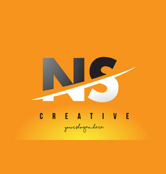 Ns n s letter modern logo design with yellow vector