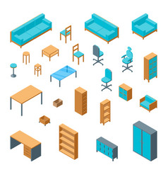 office furniture 3d icons set isometric view vector image vector image