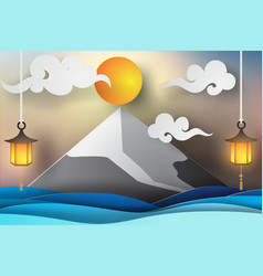 Paper art of fuji mountain and sea view lanscape vector