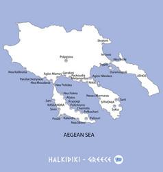 Peninsula of halkidiki in greece white map vector