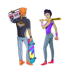 people wearing clothes 80s vector image