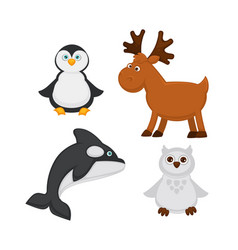 Polar animals and fish cartoon icons of vector