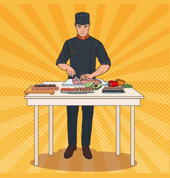 Pop art chef making sushi japanese food vector