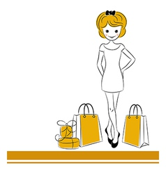 Pretty blond girl with sale bags vector image
