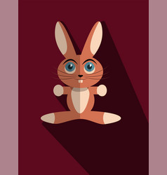 Red bunny with long shadow vector