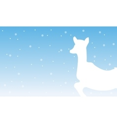 Reindeer with snow of silhouettes scenery vector