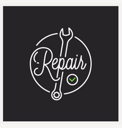 repair service logo round linear repair wrench vector image