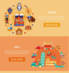 Russia italy touristic banners vector