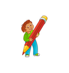 schoolboy with big pencil in his hands isolated on vector image