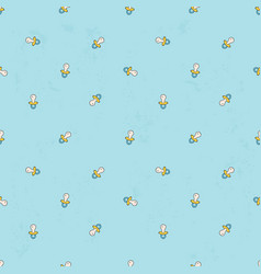Seamless background with baby pacifier simple vector
