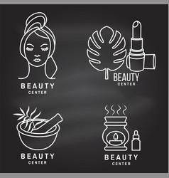 set beauty center emblem with woman face vector image