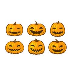 set funny pumpkins halloween symbol cartoon vector image