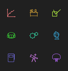 set of 9 editable teach icons includes symbols vector image