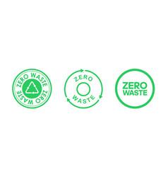 set zero waste circle logos zero waste icons vector image