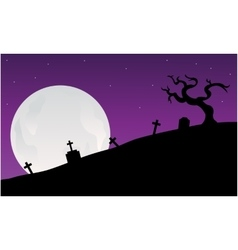Silhouette of graveyard scary halloween vector image