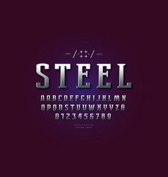 Silver colored and metal chrome serif font vector