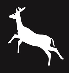 simple white deer silhouette with black vector image