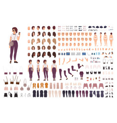 Stylish girl animation kit or creation set bundle vector