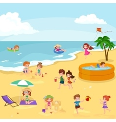summer children kids playing in sand on beach vector image