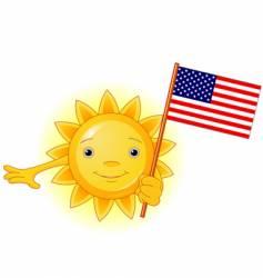 Summer sun with american flag vector