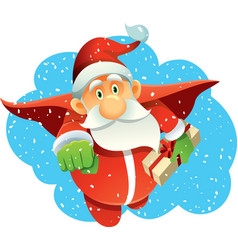 superhero santa claus bringing presents in winter vector image