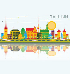 Tallinn skyline with color buildings blue sky and vector