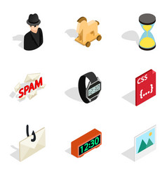Telecasting icons set isometric style vector