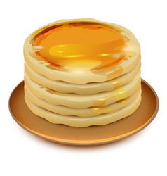 Thick pancakes with honey on plate stack of vector