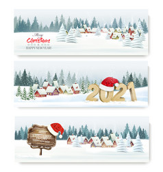 three holiday christmas holiday landscape banners vector image