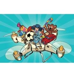 Toys delivery drones vector image