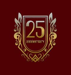twenty fifth anniversary vintage logo symbol vector image