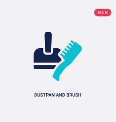 Two color dustpan and brush icon from tools vector