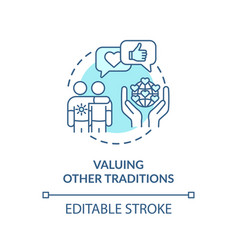 valuing other tradition turquoise concept icon vector image