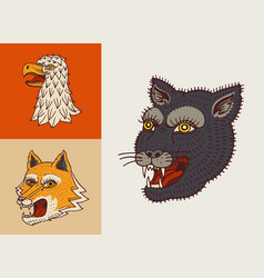 vintage animal heads logo for t-shirt wild vector image