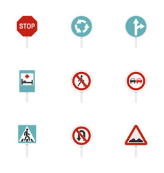 warning traffic sign icons set flat style vector image