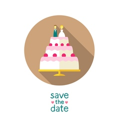Wedding cake with bride and groom figures on top vector