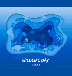 Wildlife day cutout card of sea animals underwater vector