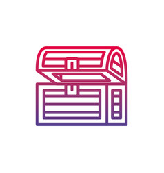 wooden chest fantasy line gradient icon vector image