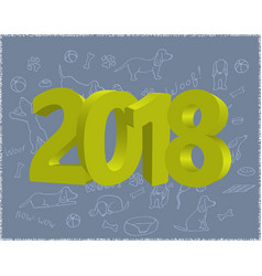 year of the dog 2018 template new year s vector image