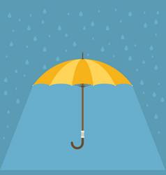 Yellow umbrella with rain background vector