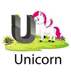 Zoo animal alphabet u for unicorn vector
