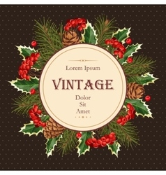 Card with winter wreath vector image