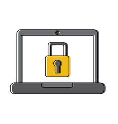 laptop computer screen security padlock protection vector image