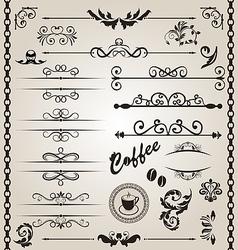 Set floral ornate design elements 7 vector image