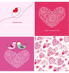 Set of four Happy valentines day backgrounds vector image